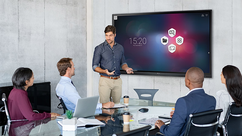 AG Neovo Meetboard interactive display in a huddle room
