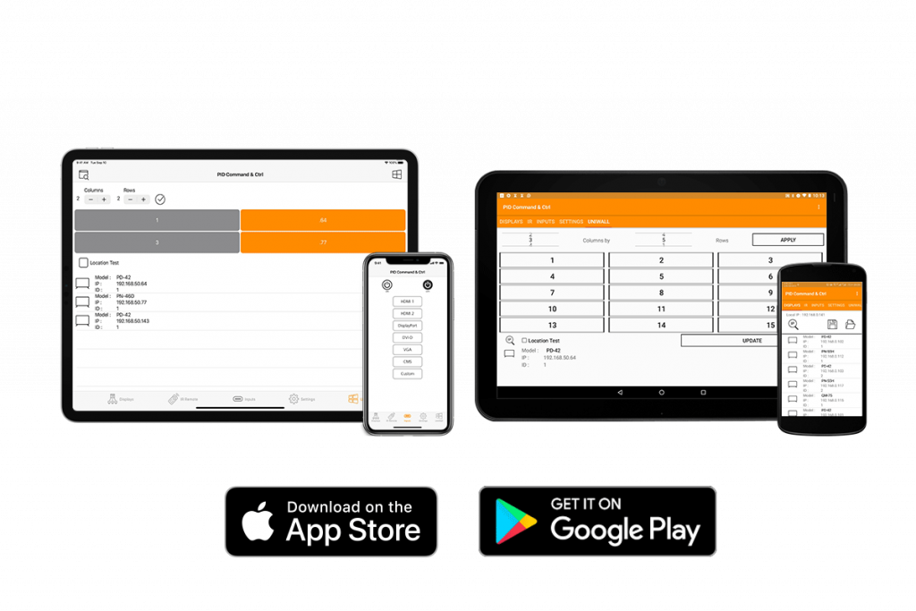 PID Command & Ctrl, the display management software, helps to manage displays through iOS and Android mobile devices.