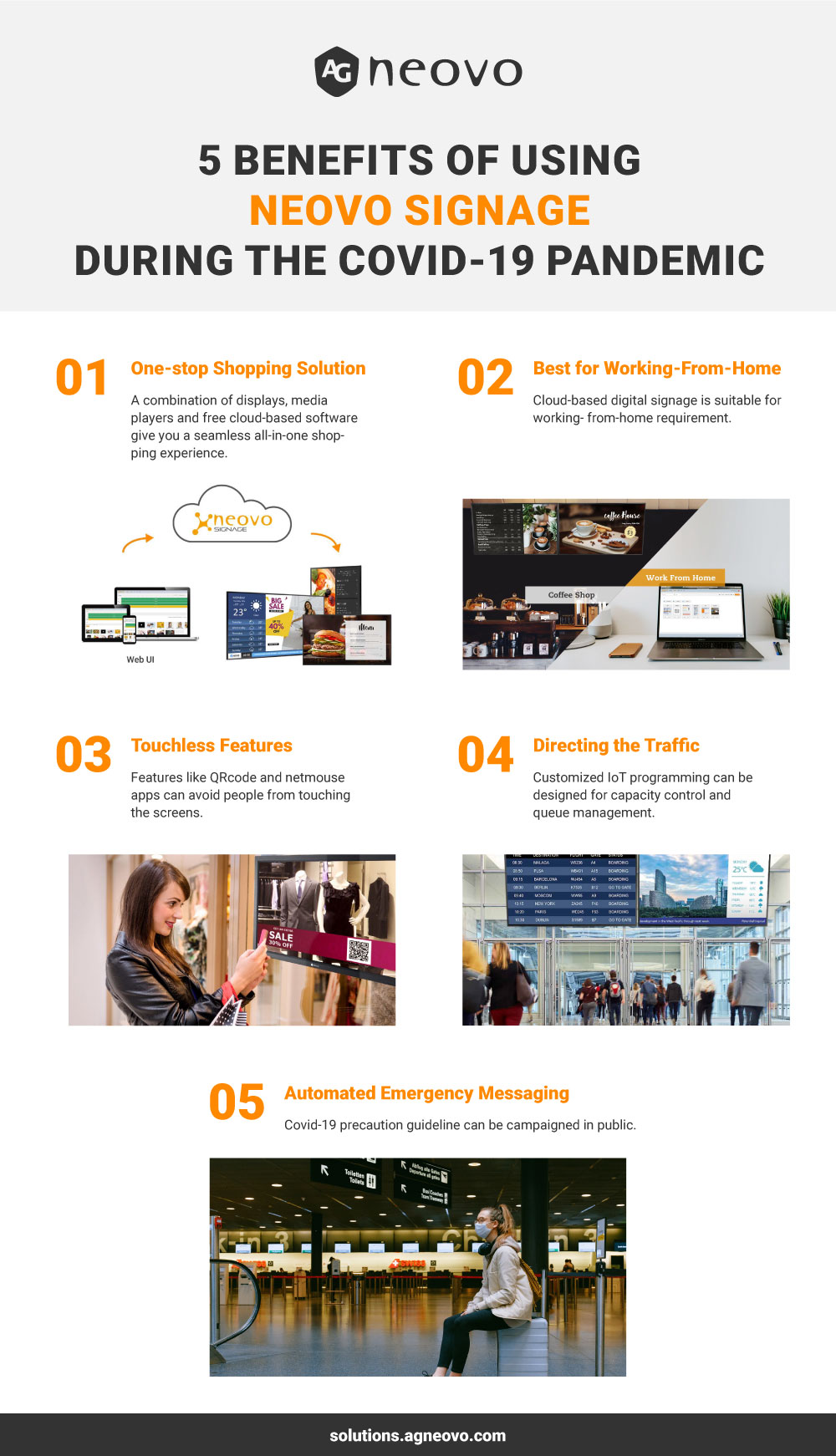 Infographic_5 Benefits of using Neovo Signage interactive digital signage solution