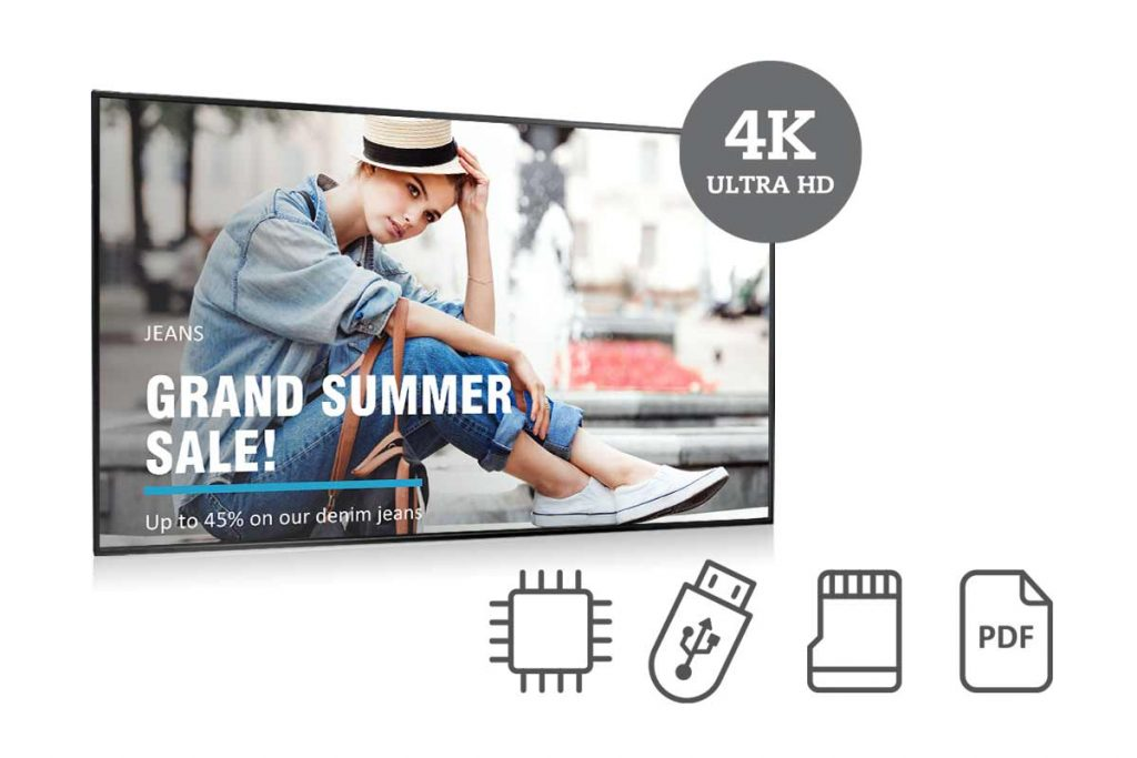 AG Neovo's NSD-series 4K digital signage display is built-in media player