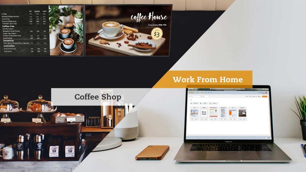 Neovo Signage cloud-based digital signage software allows you to change digital menu board at a coffee shop when working from home