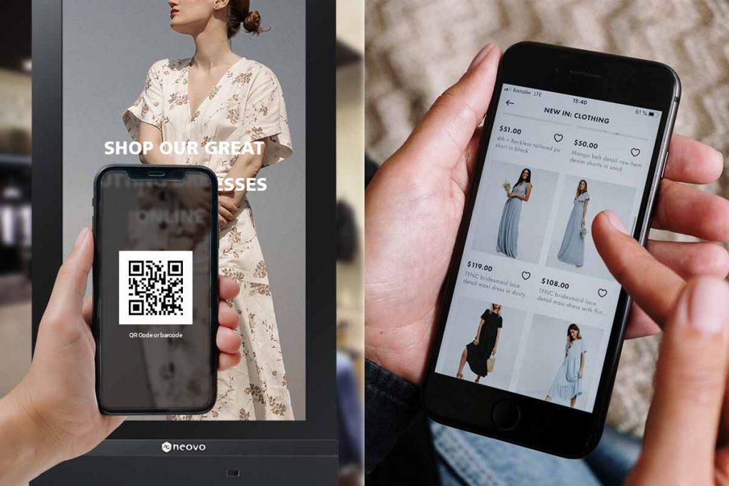 Scanning QR Code on retail digital signage