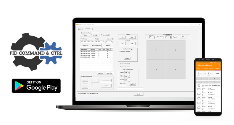 PID Command & Ctrl software can manage all the connected displays simultaneously and adjust OSD-related settings as a whole or individually from their PC or mobile device