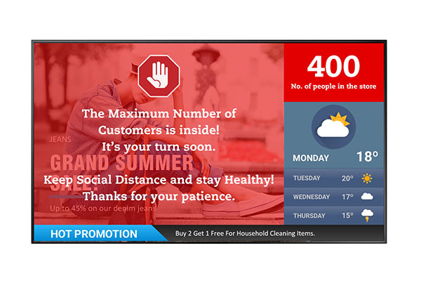 Neovo Signage interactive digital signage solution offers people counting.