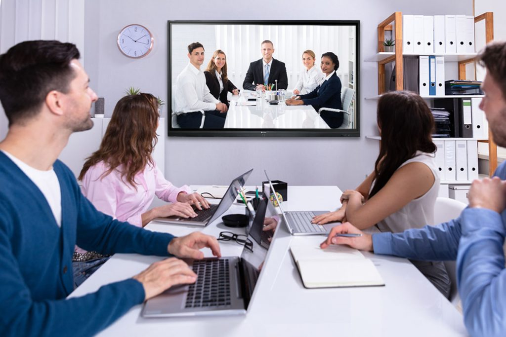 Meetboard interactive display supports video conferencing.