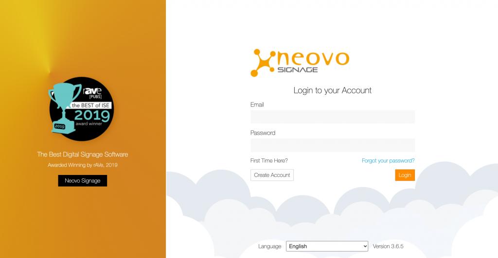 A new login screen on Neovo Signage