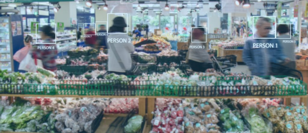 Digital signage with IoT technology is used for detecting people in a super market