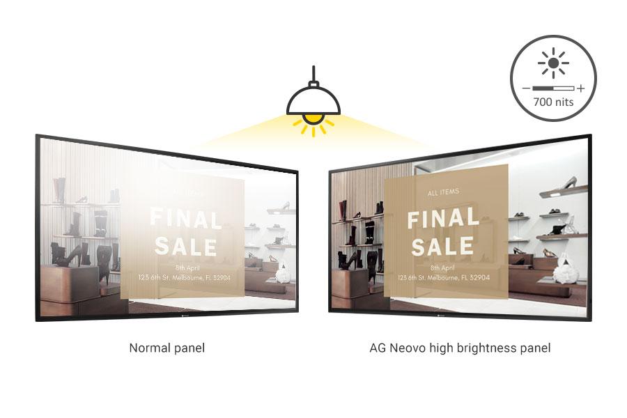 AG Neovo 700 nits high brightness panel vs. other normal panel