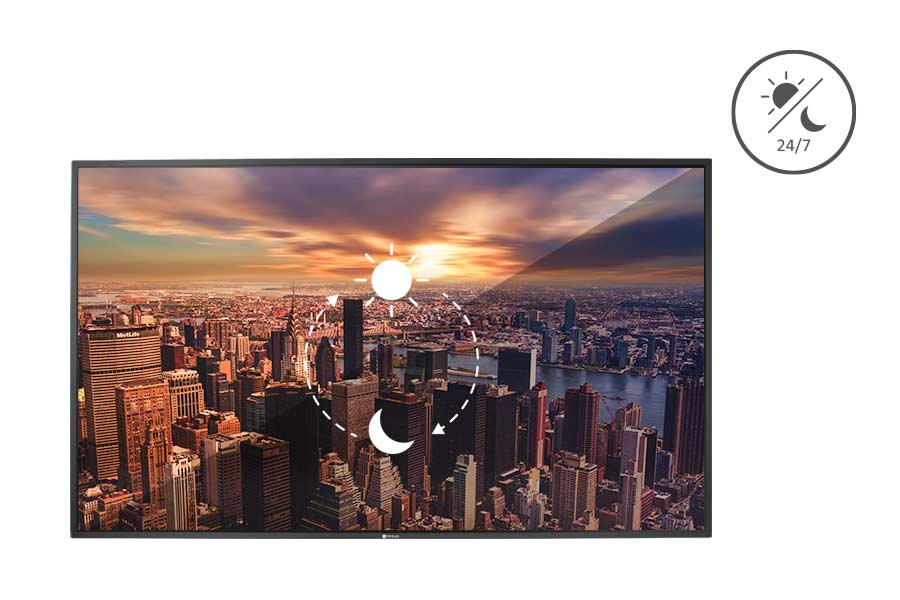 Commercial displays have a longer panel operation time ranging from 16/7 to 24/7