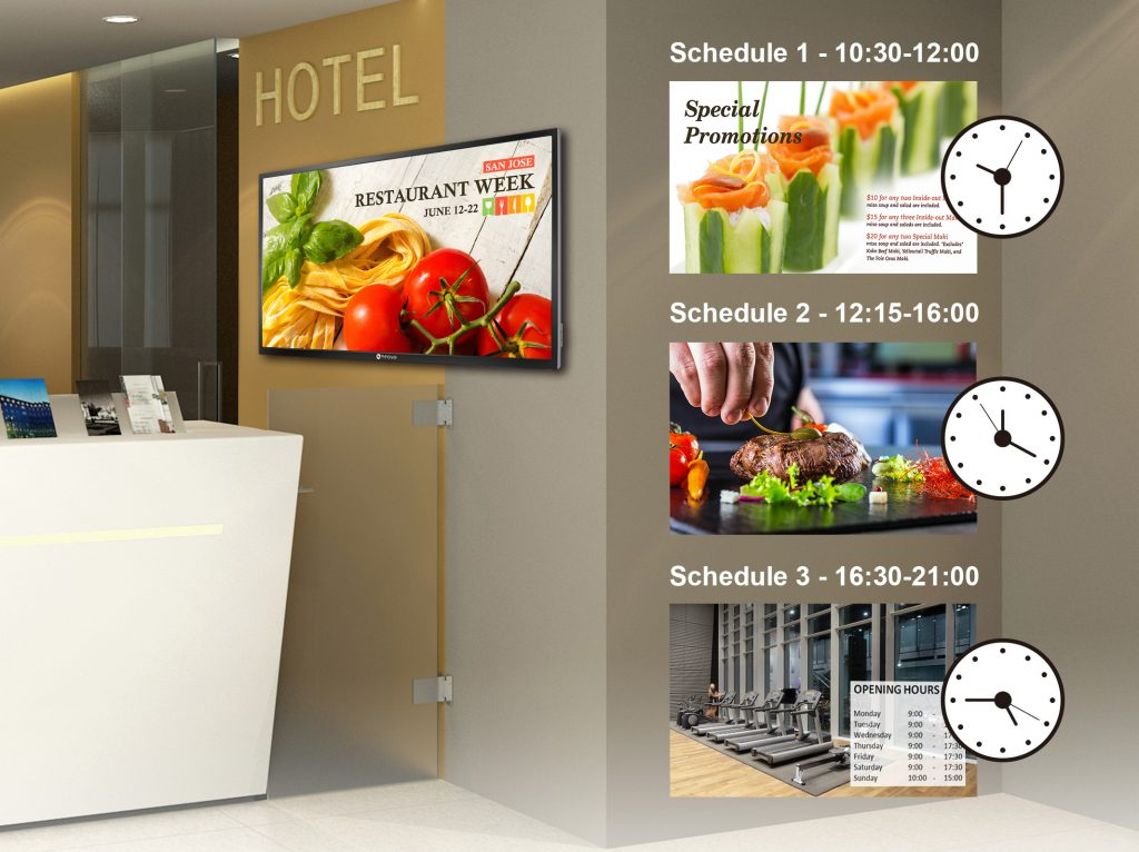 A commercial-grade display in a hotel broadcast content through its built-in scheduling functionality