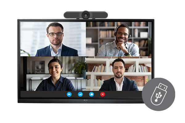 Meetboard interactive display supports all-in-one camera setup.
