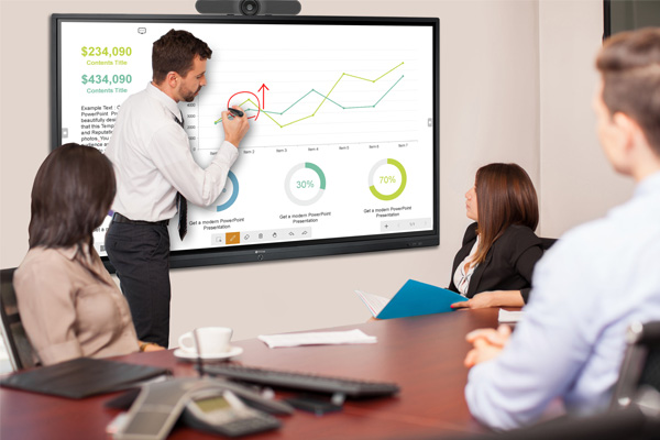 A Man is writing on Meetboard interactive display screen in the video conferencing meeting