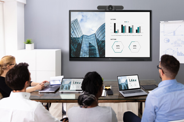 using notebook to do wireless presentation and video conferencing on Meetboard interactive display