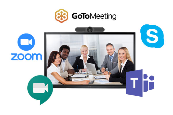 Meetboard interactive display supports Zoom, Teams video conferencing applications.