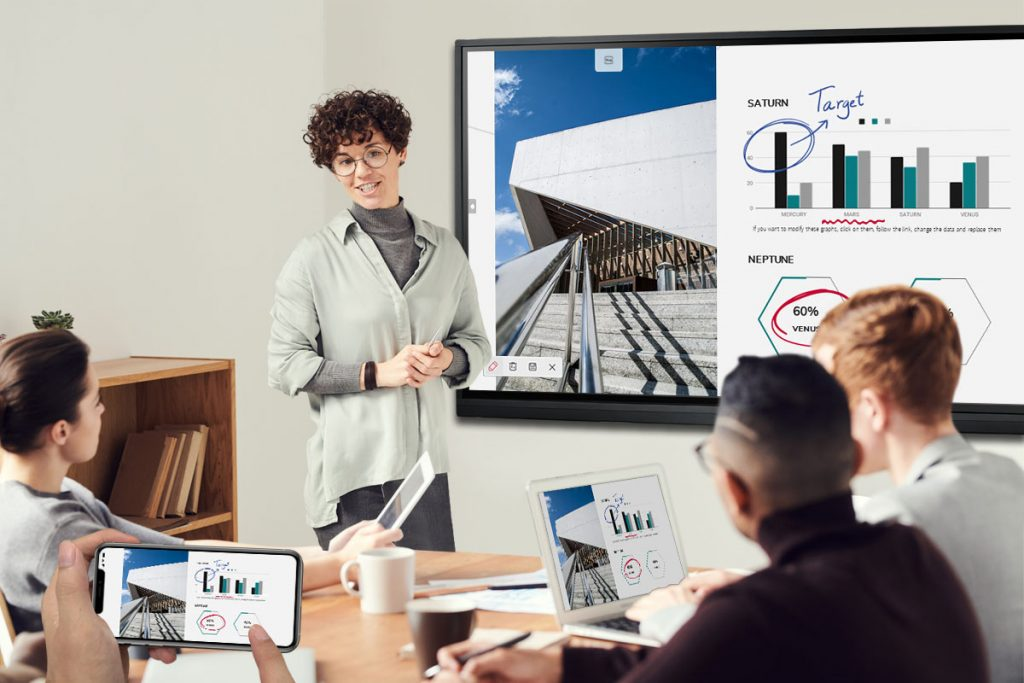 A group of people are using AirPlay to screen mirroring on Meetboard interactive display