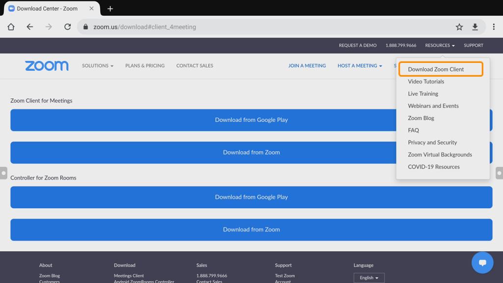 download Zoom client on Zoom website