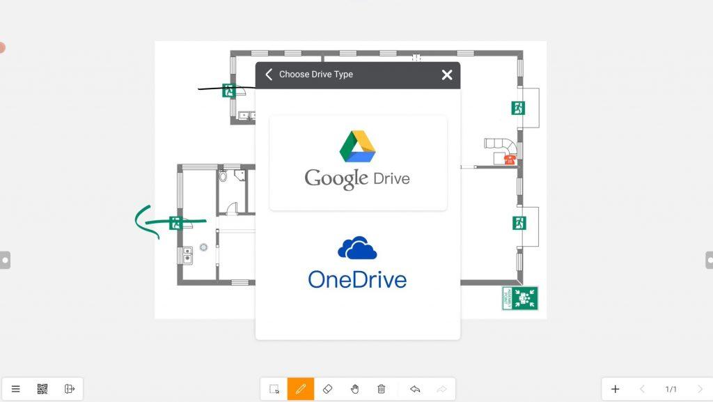 choosing Google Drive or Microsoft OneDrive on Meetboard app