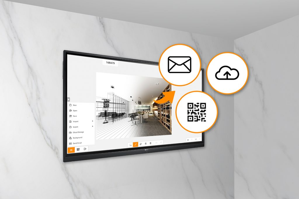 Meeting results can be shared via Cloud Drives, QR Code Scan & Save, USB Drive, internal memory and email