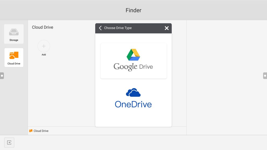 the screenshot of two drive type can be chosen on Meetboard: Google Drive or Microsoft OneDrive