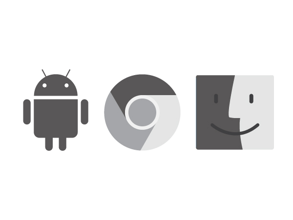 Android OS, Chrome OS, and macOS