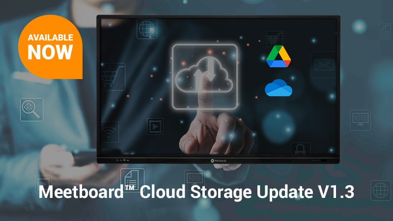 Meetboard V1.3 OTA update with new Google Drive and Microsoft OneDrive function release